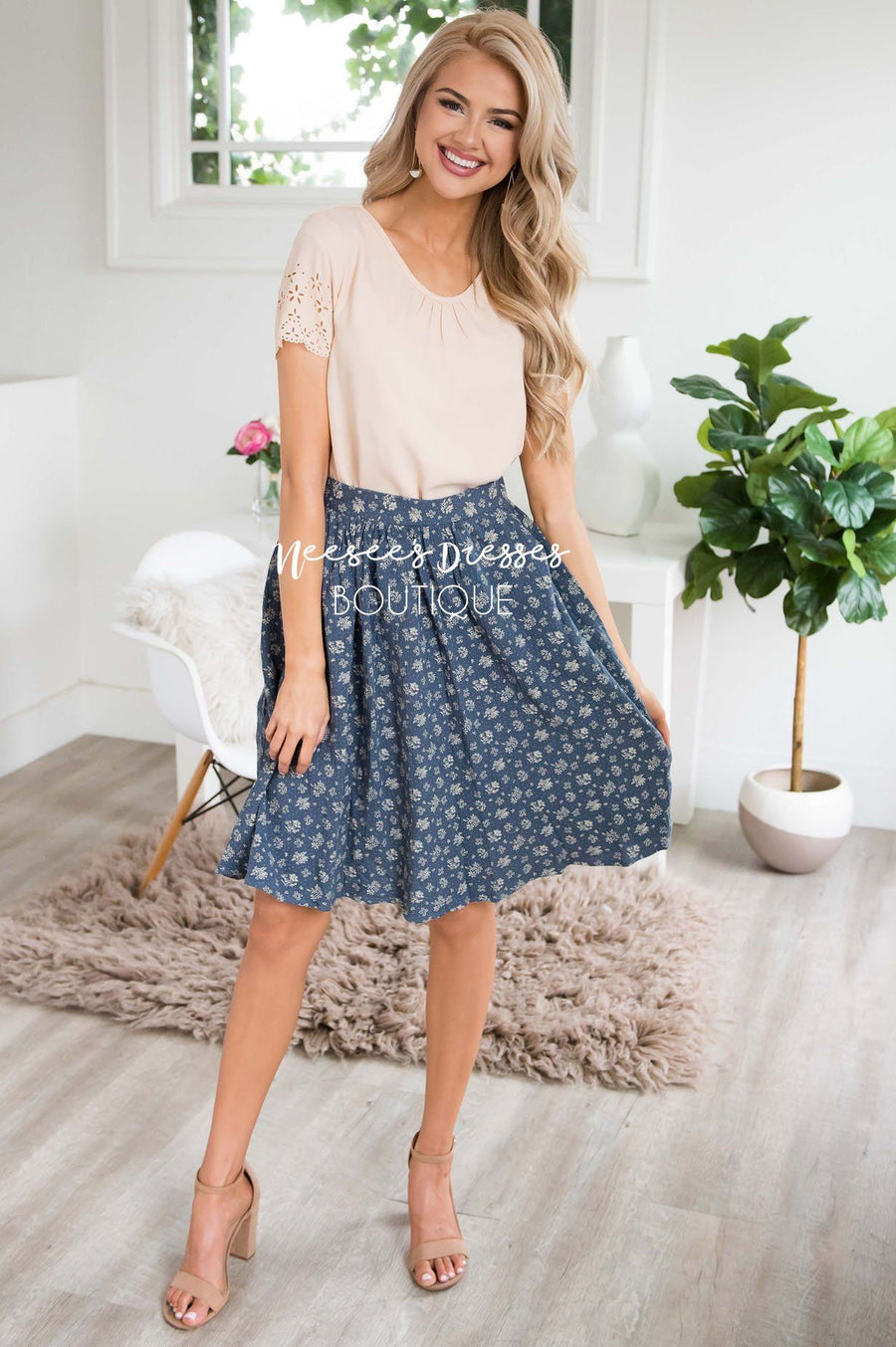 Slate Blue & Cream Textured Aline Skirt