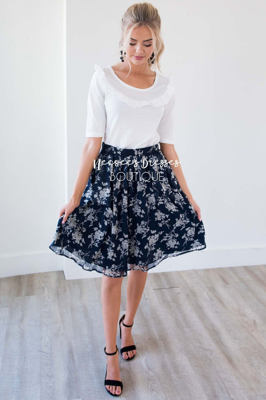 Navy & Cream Floral Chiffon Skirt