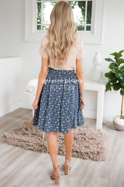 Slate Blue & Cream Textured Aline Skirt Skirts vendor-unknown
