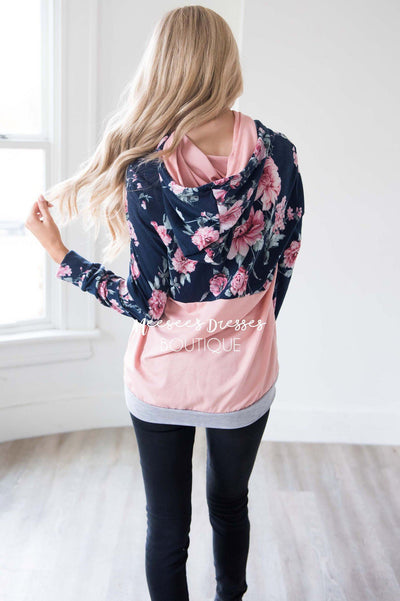 Navy Floral & Pink Colorblock Hoodie Tops vendor-unknown