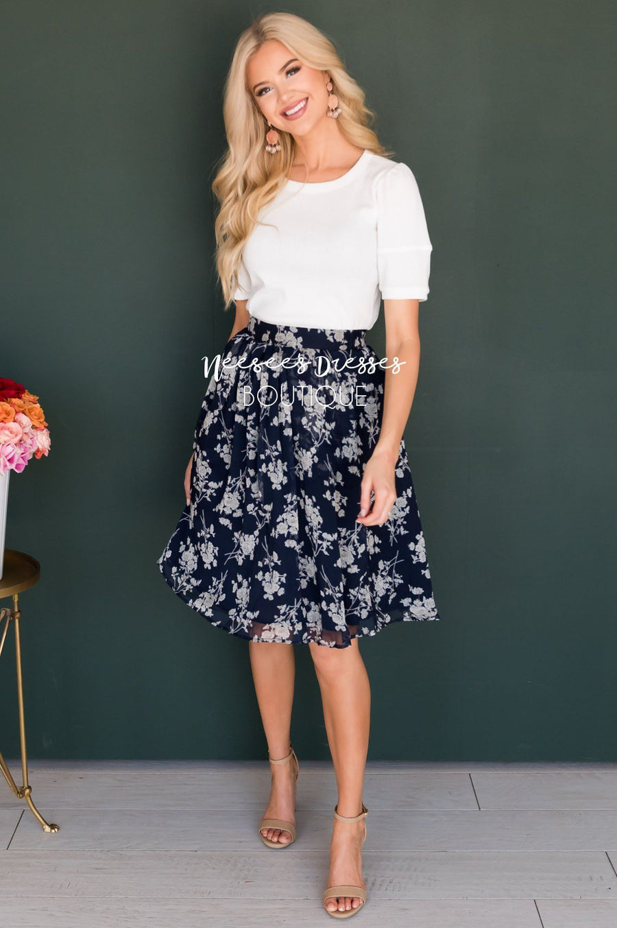 Navy & Cream Floral Chiffon Skirt Skirts vendor-unknown