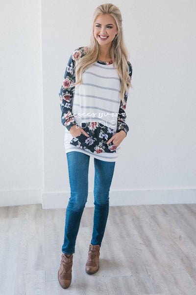 Sweater Weather Floral & Stripes Sweater Tops vendor-unknown
