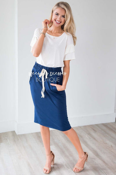 French Terry Drawstring Waist Skirt Skirts vendor-unknown