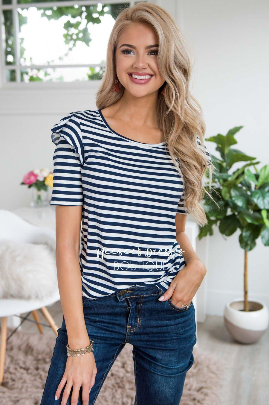 Charming Ruffle Shoulder Top Tops vendor-unknown