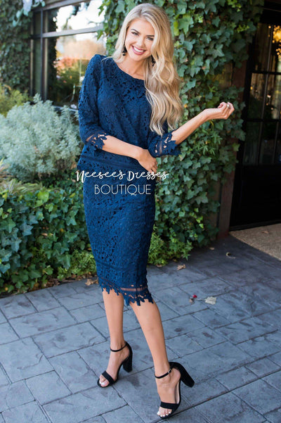 The London Two Piece Lace Dress Set Modest Dresses vendor-unknown