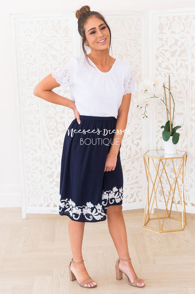 Living In The Moment Modest Eyelet Blouse Modest Dresses vendor-unknown