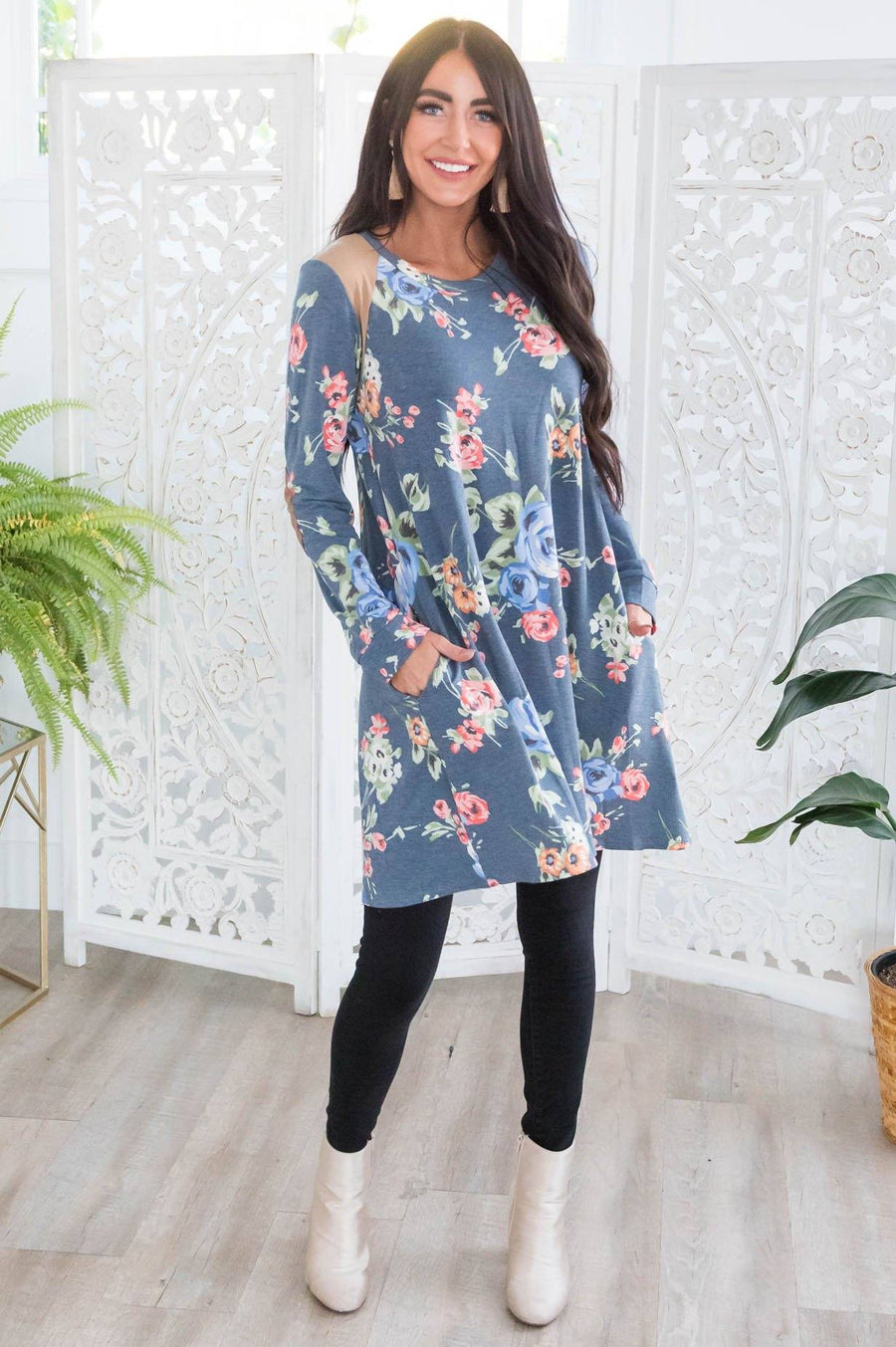 Winter Blooms Modest Tunic