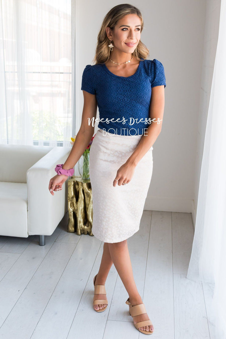 Champagne Rose Satin Pencil Skirt