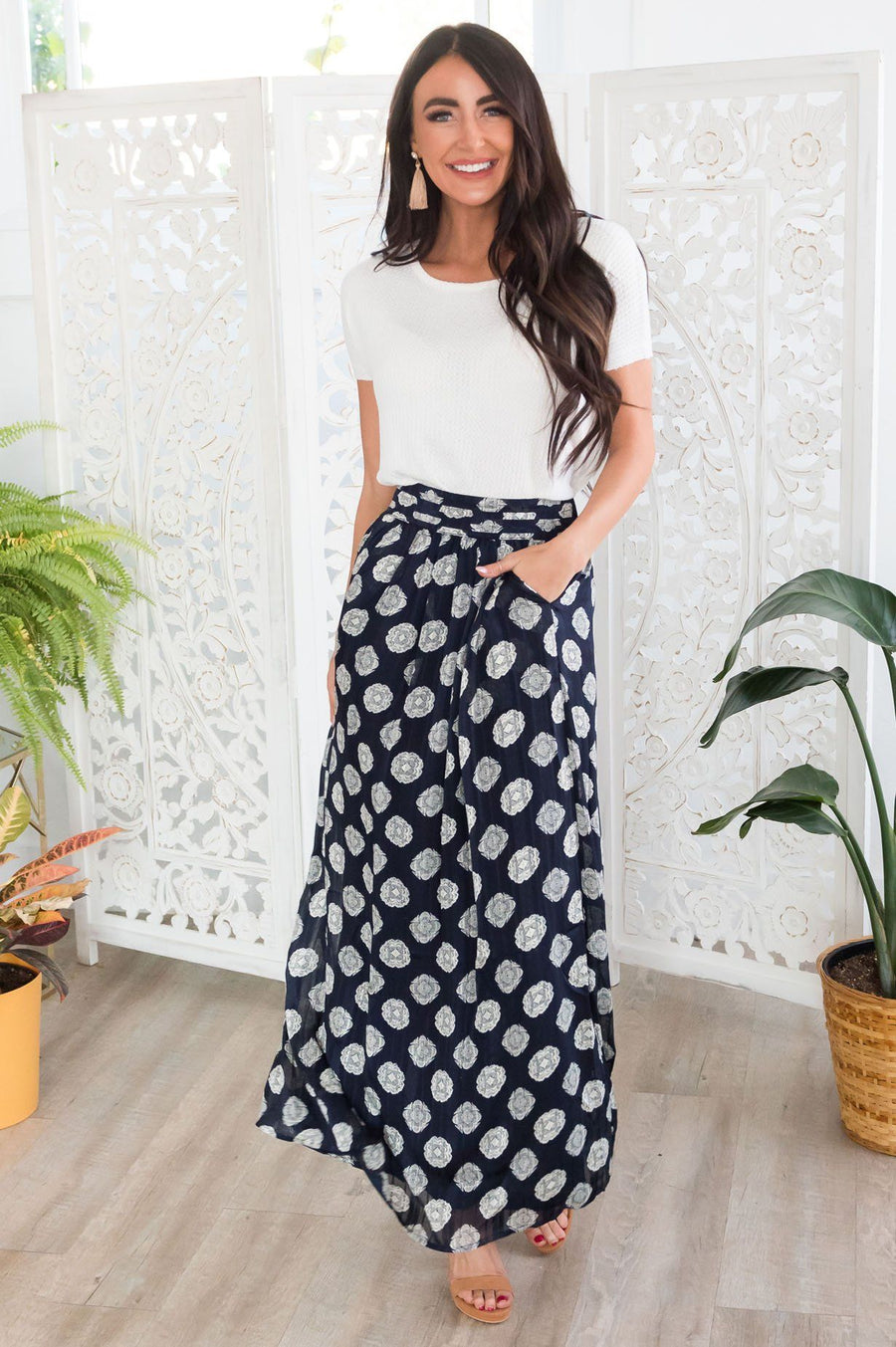 Always Loving Medallion Maxi Skirt Skirts vendor-unknown