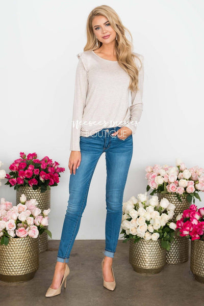 Be Extraordinary Ruffle Shoulder Sweater