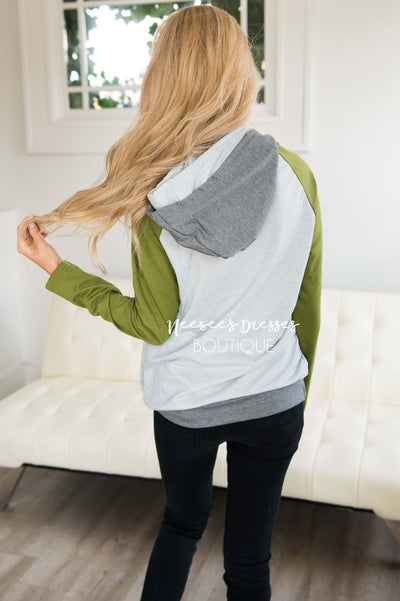 Shoulder Zip Double Hoodie Sweater Tops vendor-unknown