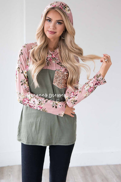 Like a Love Song Sequin Pocket Hoodie Tops vendor-unknown