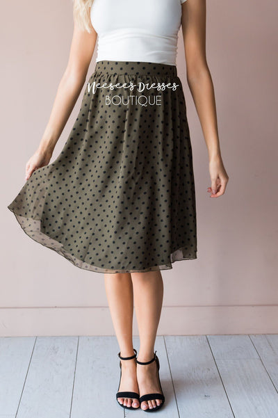 Pretty in Dots Modest Skirt Skirts vendor-unknown