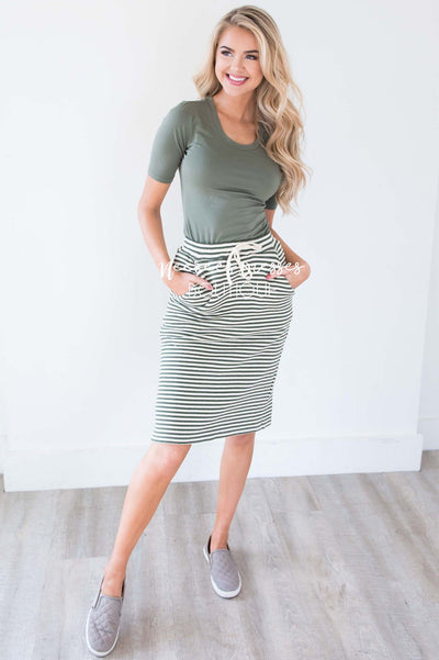 Olive Striped Skirt With Tie Waist Skirts vendor-unknown