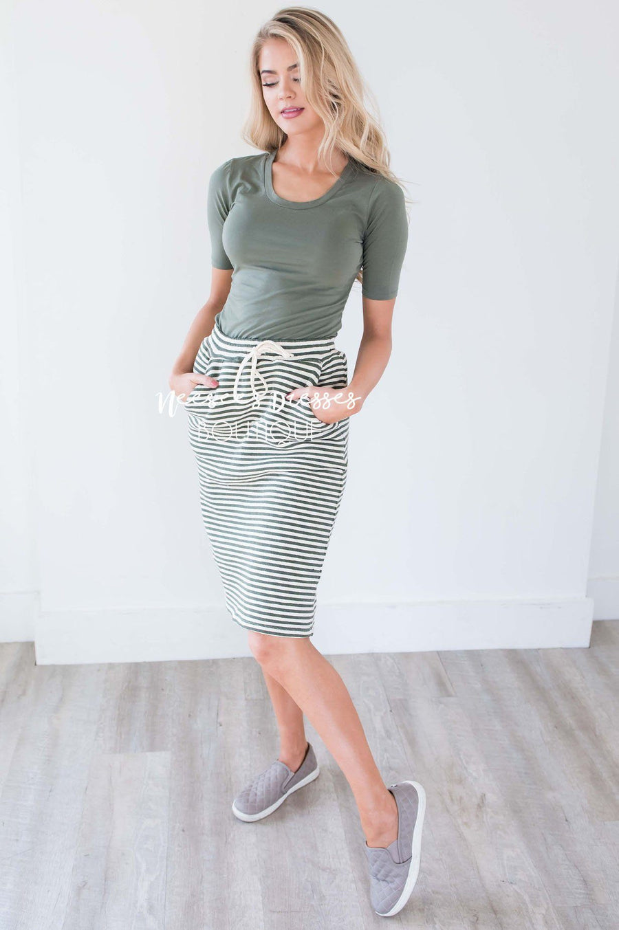 Olive Striped Skirt With Tie Waist