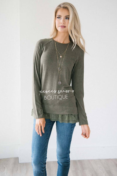 So Soft Lace Ruffle Hem Sweater Tops vendor-unknown