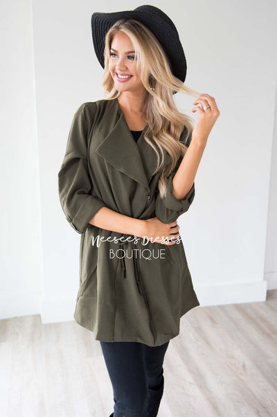 Born To Explore Tie Waist Jacket Tops vendor-unknown