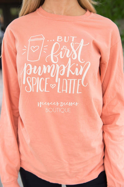 But First Pumpkin Spice Graphic Tee Tops vendor-unknown