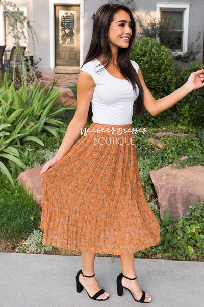 Fall Blooms Modest Pleat Skirt Modest Dresses vendor-unknown