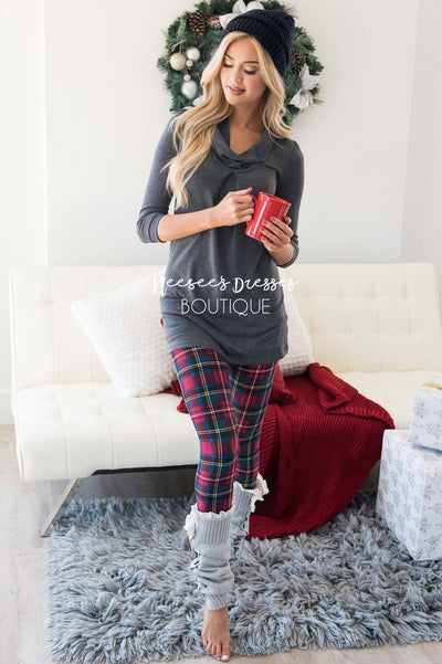 Dark Red, Dark Green & Blue Plaid Christmas Print Leggings Accessories & Shoes vendor-unknown