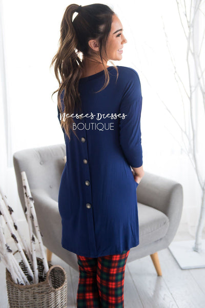 Button Back Pocket Tunic Modest Dresses vendor-unknown