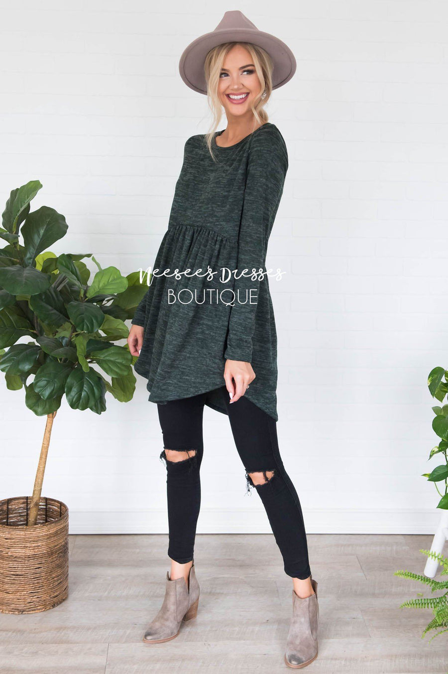 Casual Comfort Sweater Modest Dresses vendor-unknown