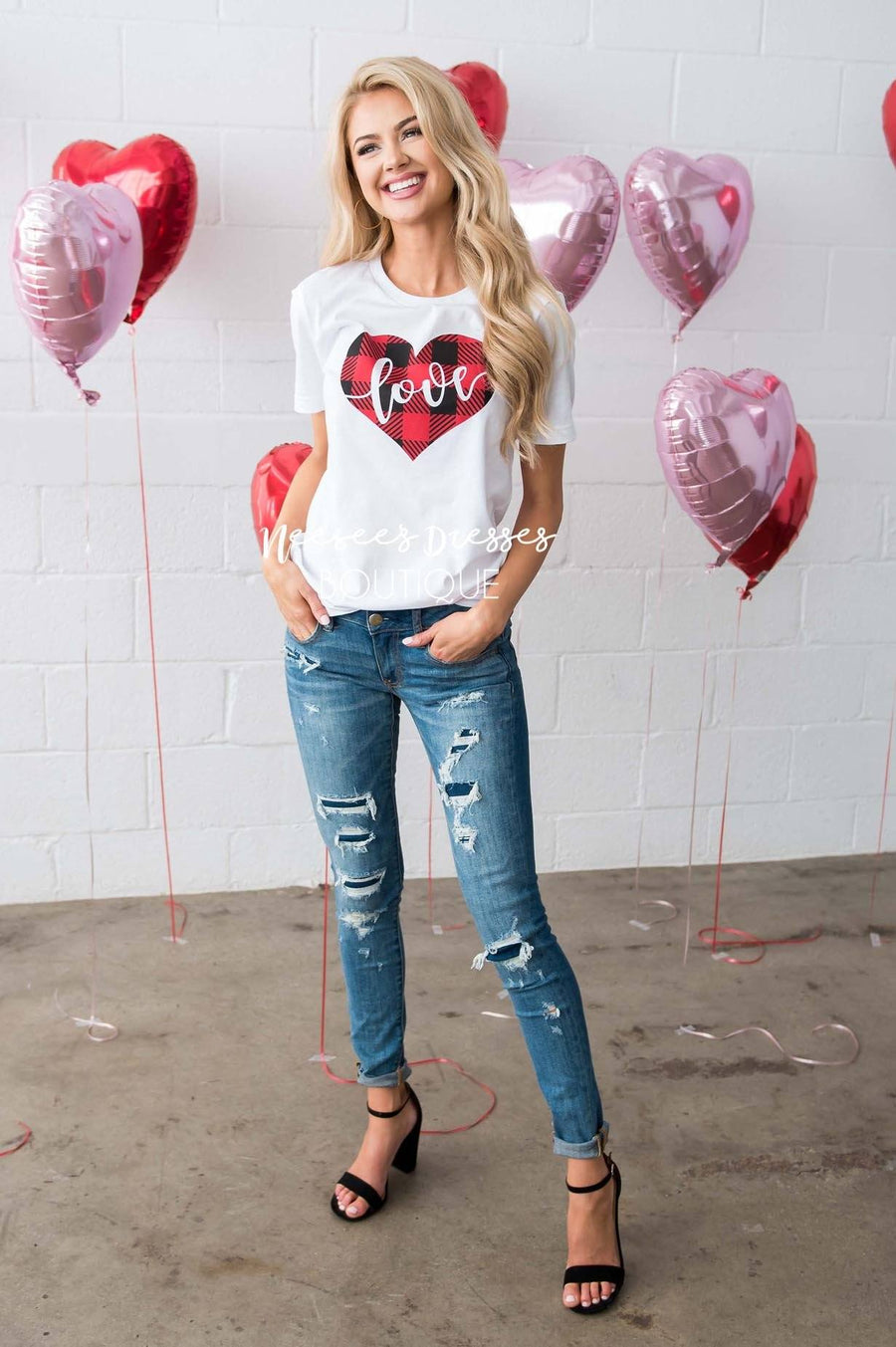 Plaid Love Heart Graphic Tee Tops vendor-unknown