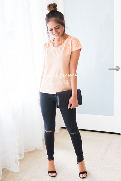 The Crochet Dot Modest Tee Tops vendor-unknown