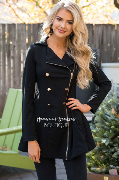 Beautiful Gold Button Peacoat Tops vendor-unknown