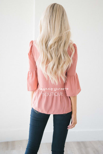 Ruffle Neck Bell Sleeve Peplum Blouse Tops vendor-unknown