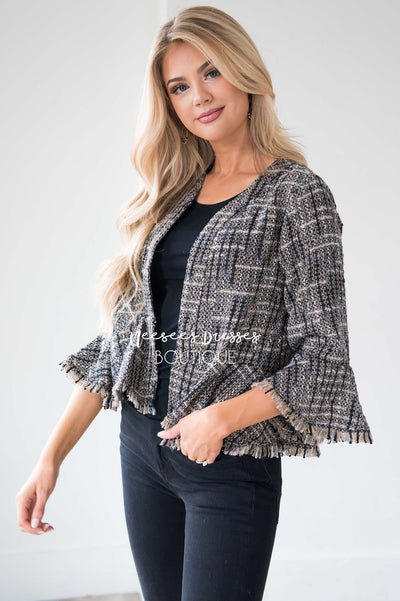 We're Chasing Forever Peplum Jacket Tops vendor-unknown