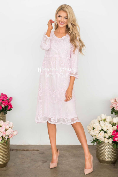 Day Dreamer Lace Dress in Pastel Pink Modest Dresses vendor-unknown