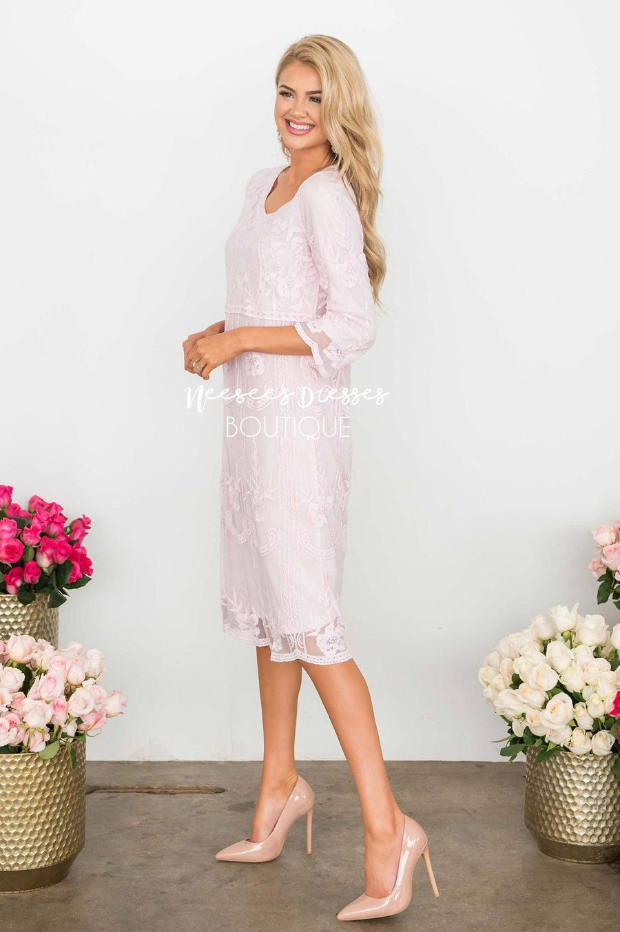 Day Dreamer Lace Dress in Pastel Pink