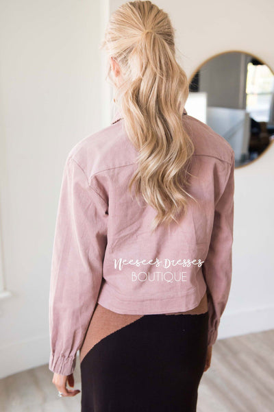 Dusty Pink Corduroy Jacket Tops vendor-unknown