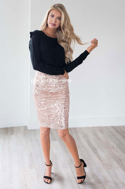 Sparkly Nights Rose Gold Sequin Skirt