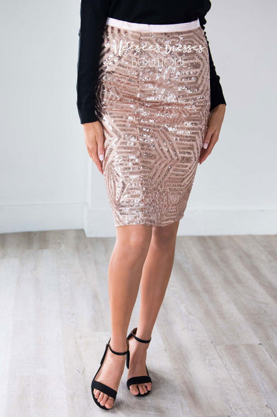 Sparkly Nights Rose Gold Sequin Skirt Skirts vendor-unknown