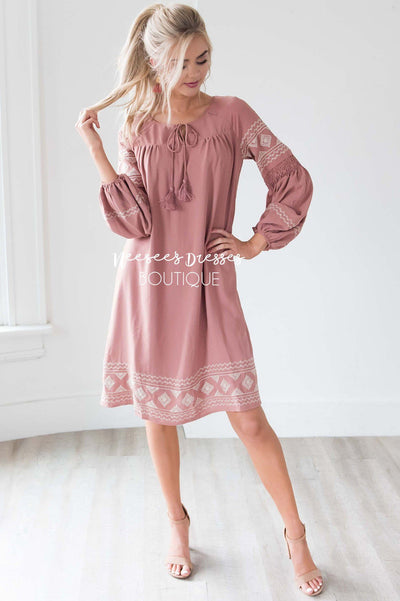 The Allie Boho Embroidered Dress Modest Dresses vendor-unknown