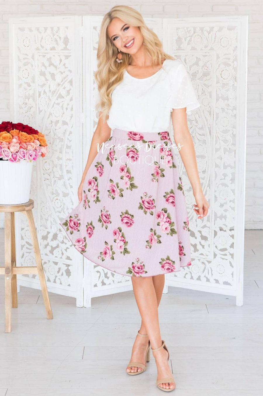 Pretty Pink Striped Floral Skirt