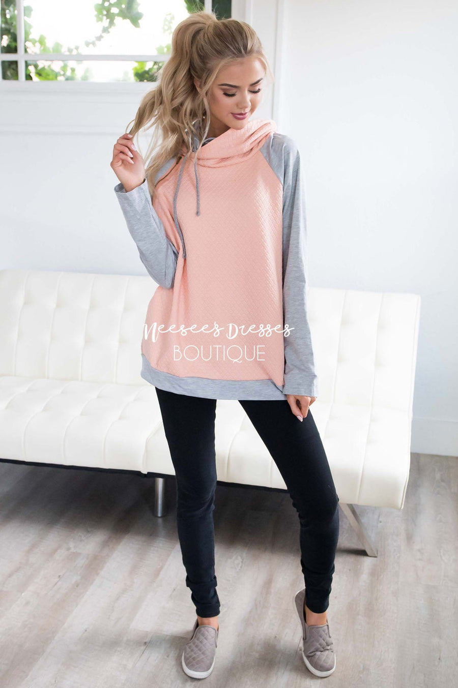 Shoulder Zip Double Hoodie Sweater