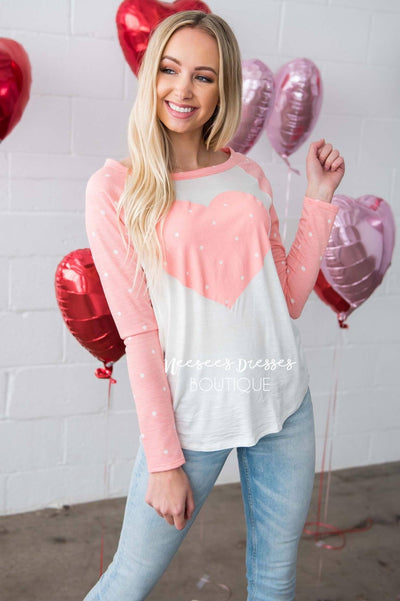 Polka Dotted Heart Baseball Tee Tops vendor-unknown