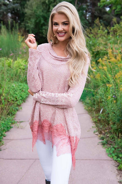 Lessons In Love Lace Trim Sweater Tops vendor-unknown