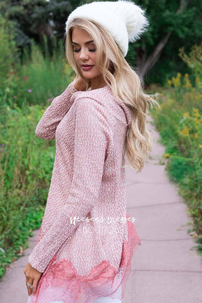 Lessons In Love Lace Trim Sweater