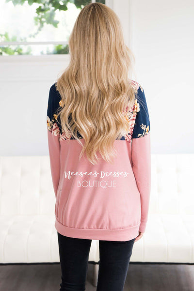 Floral Top Pink Cowl Neck Sweater Tops vendor-unknown