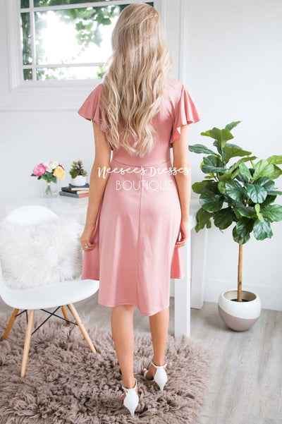 The Daisie Ruffle Shoulder Dress Modest Dresses vendor-unknown