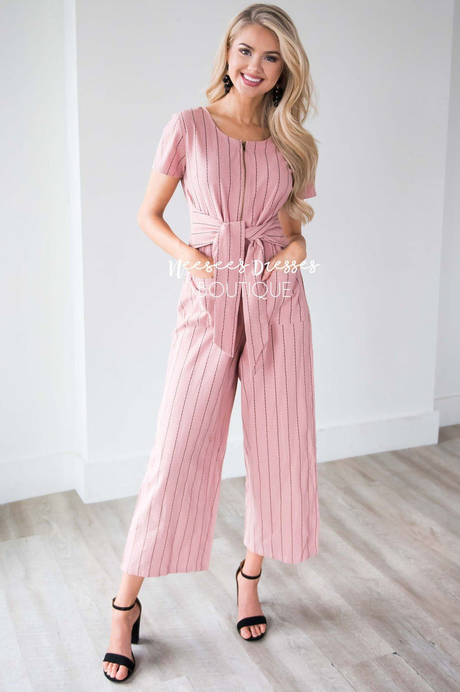 The Sascha Striped Tie Front Jumpsuit