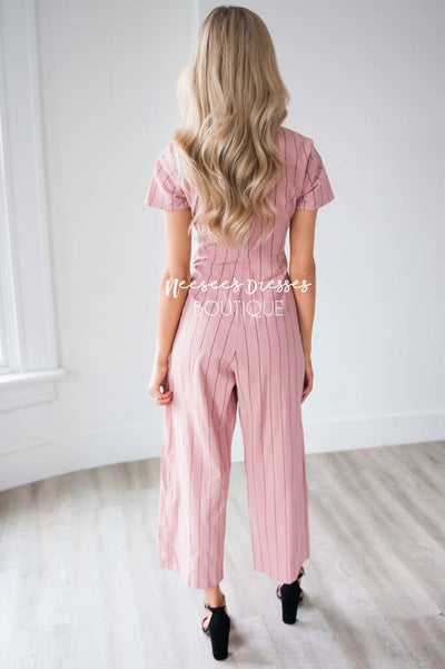 The Sascha Striped Tie Front Jumpsuit Modest Dresses vendor-unknown