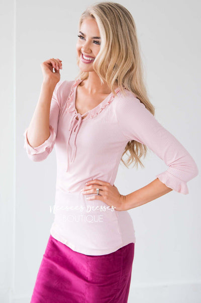 Ruffle Tie Neck Bell Sleeve Top Tops vendor-unknown