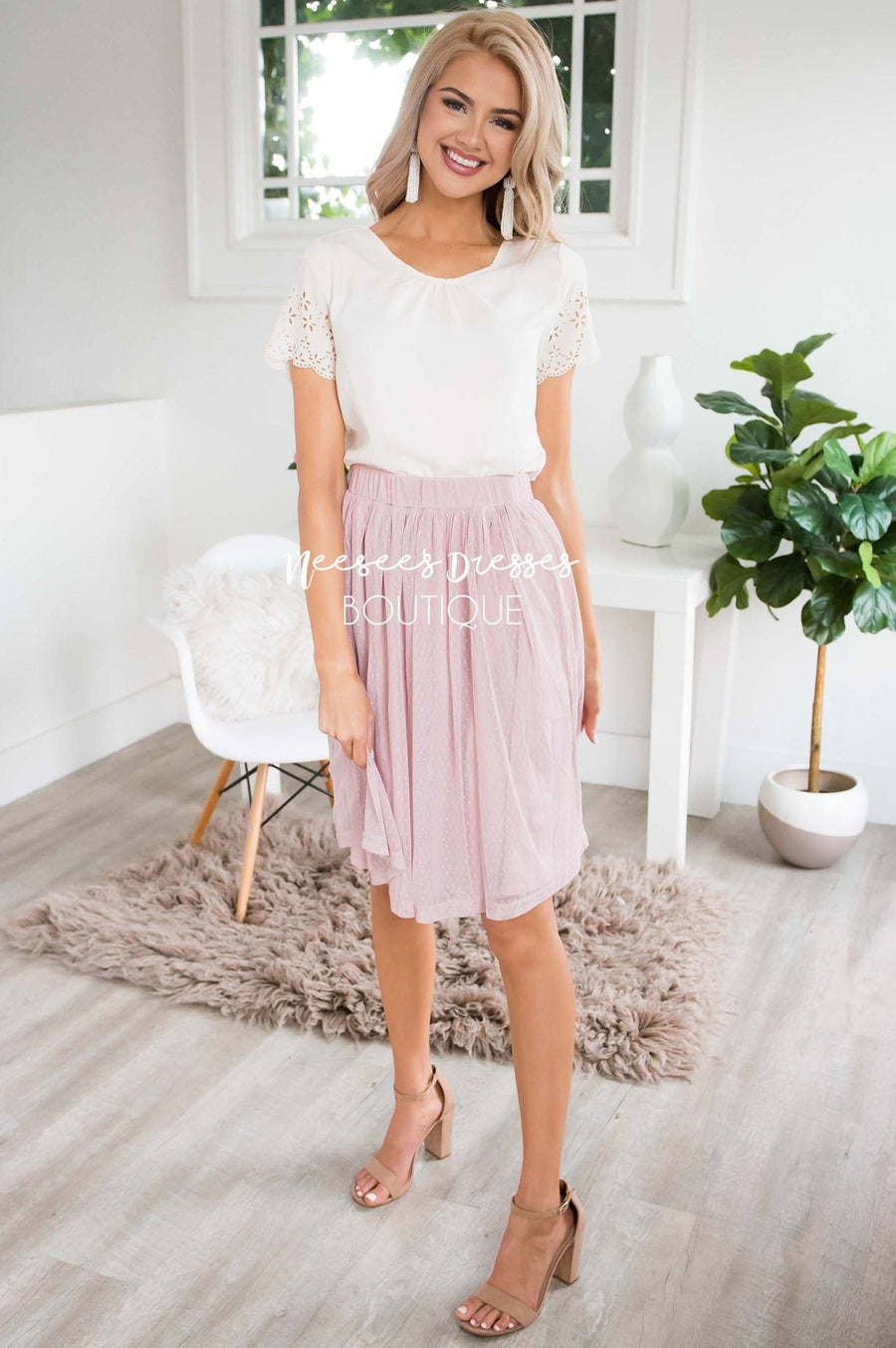 Pink Dotted Tulle Skirt Skirts vendor-unknown