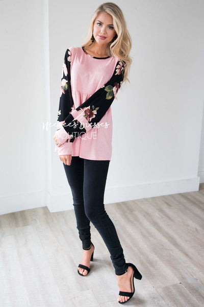 Velvet Bubble Sleeve Peplum Top Tops vendor-unknown