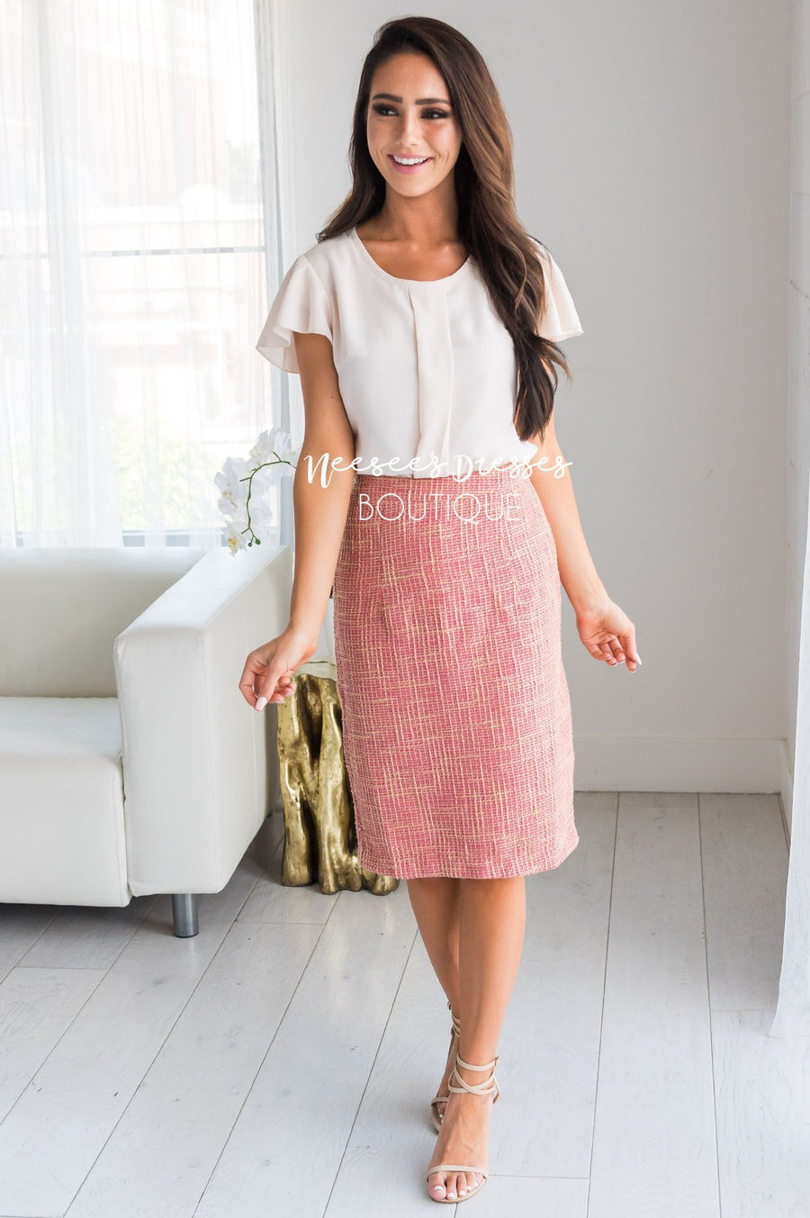 Pink & Gold Tweed Modest Skirt Skirts vendor-unknown